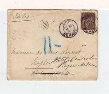 Sur Enveloppz De Lyon Pour Naples CAD Lyon Départ 1887 Sur Type Sage 25 C. Noir Et Rose. C. Italiens Peu Lisibles. (2394 - Marcophilie (Lettres)