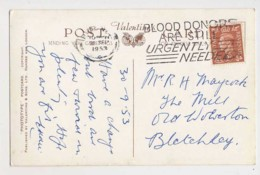 AI39 Slogan Postmark On Postcard - Blood Donors Are Still Urgently Needed - Marcofilie