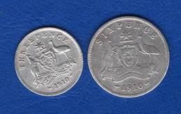 Australie  2  Pieces  1910 - Monnaie Pré-décimale (1910-1965)