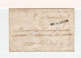 Sur Partie De Lettre Pour Clavau En Poitou Marque Linéaire De Nancy Meurthe Et Moselle. Taxe Manuscrite. (2398x) - 1701-1800: Precursors XVIII