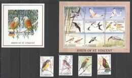 K1083 ST. VINCENT BIRDS OF ST. VINCENT FAUNA !!! KB+BL+SET MNH - Oiseaux