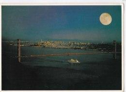 AK91 A Cruise Ship Under The Golden Gate Bridge By Moonlight - San Francisco