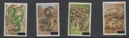 ZAMBIA ,MNH,SNAKES,OVERPRINTS, 4v - Snakes
