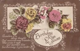 AQ32 Greetings - Birthday Joys Be Yours - Roses - Birthday