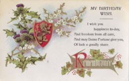 AQ32 Greetings - My Birthday Wish - Thistles Mistletoe - Birthday