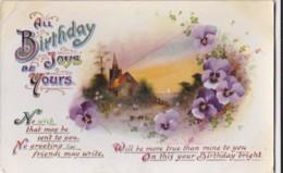 AQ32 Greetings - All Birthday Joys Be Yours - Church, Pansies - Birthday