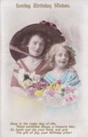 AQ32 Greetings - Loving Birthday Wishes - 2 Girls With Flowers - Birthday
