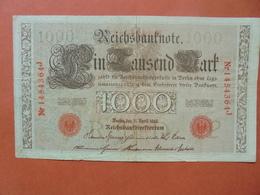 """Reichsbanknote 1000 MARK 1910 CACHET ROUGE ALPHABET """"P"""" (B.4) - [ 2] 1871-1918 : German Empire"""