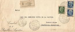Italy Italia 1937 Bari Consulado De La Republica Argentina Registered Cover - 1900-44 Vittorio Emanuele III