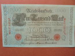 """Reichsbanknote 1000 MARK 1910 CACHET ROUGE ALPHABET """"Q"""" (B.4) - [ 2] 1871-1918 : German Empire"""