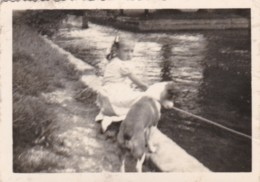 AR30 Photograph - Young Girl With Her Dog By A River/canal - Anonymous Persons