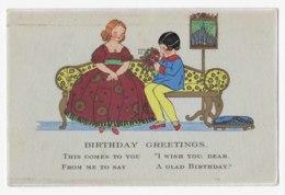 AK93 Children - Two Children On A Sofa - Artist Drawn, Birthday Greeting - Children And Family Groups