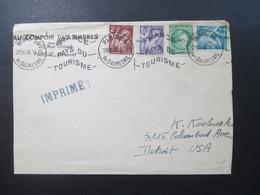 Frankreich 1949 Freimarken Iris / Ceres MiF Maschinenstempel Paris 56 Av.Daumesnil Imprime / Drucksache In Die USA - France