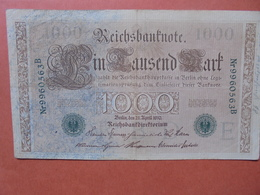 "Reichsbanknote 1000 MARK 1910 CACHET VERT ALPHABET ""E"" (B.4) - [ 2] 1871-1918 : German Empire"