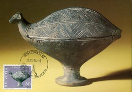45680 Switzerland, Maximum 1994 Archlogy, Waterfowl Ceramic, Pro Patria 1974 - Cartoline Maximum