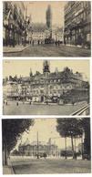 59.-LILLE - Lot De 5 Cartes Pl. Richebé - La Bourse - Pl. De La République Et Palais Beaux Arts...- Tram - Feldpostkarte - Lille
