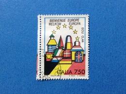 1993 ITALIA FRANCOBOLLO USATO STAMP USED BENVENUTA EUROPA UNITA BELGIO - 6. 1946-.. Repubblica