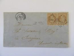 Lettre Mayenne Vers Surgères - Paire De Timbres 10c YT N°13B, Belles Marges, Belle Qualité - GC 1940 - 1862 - Postmark Collection (Covers)