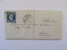 Lettre Paris Vers Cluis (Indre) - Timbre YT N°14A - Cachet Type 22 Et Paris à Limoges Au Verso - Juin 1857 - Postmark Collection (Covers)