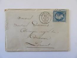 Enveloppe Timbrée YT N°14A + Lettre Pour Le Chirurgien Major Du Cormoran à Lorient - 13 Août 1861 - Postmark Collection (Covers)