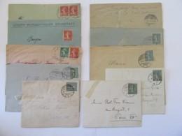 Lot De 10 Enveloppes à Cachets Alsace 1918 / 1919 Dont Weissenburg, Hagendingen, Brunstatt, Molsheim, Etc... - Postmark Collection (Covers)