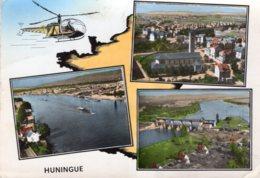 HUNINGUE LA RHIN AUX TROIS FRONTIERES L'EGLISE ET PANORAMIQUE DU RHIN VERS BALE 1965 CPSM GM TBE - Huningue