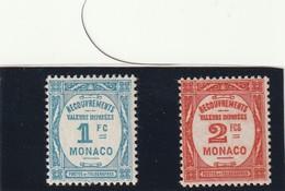 Monaco Taxe N° 27 Et 28 Avec Charniére* Normale Et Centrage Correct - Postage Due