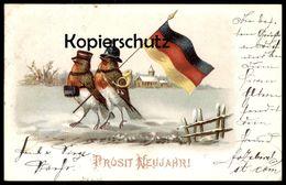 ALTE POSTKARTE PROSIT NEUJAHR ROTKEHLCHEN VERMENSCHLICHT POSTILLON Flagge Robin Le Rouge-gorge Ansichtskarten Postcard - Animali Abbigliati