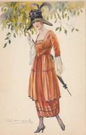 Art Deco ; BOMPARD ; Fashion Woman Portrait #20 , Umbrella , 1910-20s - Bompard, S.