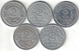 France Collection Of 5x 2 Francs B & C Mints 1944-1946 All Listed & Different - France