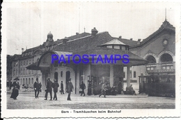 114133 SWITZERLAND BERN STATION TRAIN & TRAMWAY POSTAL POSTCARD - Switzerland