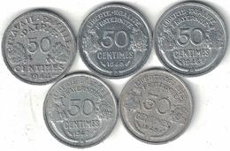 France Collection Of 5x 50 Centimes B & C Mints 1944-1947 All Listed & Different - France