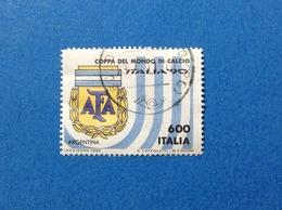1990 ITALIA FRANCOBOLLO USATO STAMP CALCIO MONDIALI 90 ARGENTINA 600 - 6. 1946-.. Repubblica