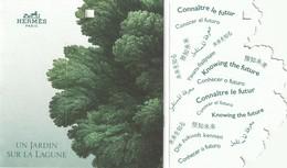 """HERMES  **Un Jardin Sur La Lagune **  Etiquette  3 Volets Avec Message """"Connaître Le Futur """" - Perfume Cards"""