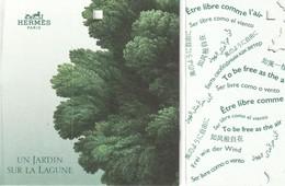 """HERMES  **Un Jardin Sur La Lagune **  Etiquette  3 Volets Avec Message """"Être Libre Comme L'air """" - Perfume Cards"""