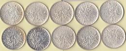 Lot 10 Pièces -  Argent 5 Francs - Semeuse - France