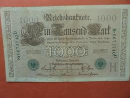 """Reichsbanknote 1000 MARK 1910 CACHET VERT ALPHABET """"H"""" (B.4) - [ 2] 1871-1918 : German Empire"""
