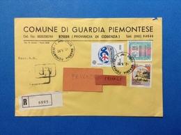 COMUNI D'ITALIA BUSTA RACCOMANDATA COMUNE DI GUARDIA PIEMONTESE COSENZA CON COLOMBO EUROPA ALTO VALORE 3000 CASTELLO 100 - 6. 1946-.. Repubblica