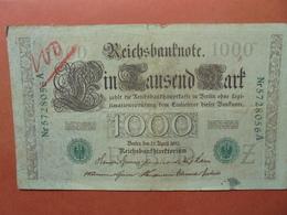 """Reichsbanknote 1000 MARK 1910 CACHET VERT ALPHABET """"Z"""" (B.4) - [ 2] 1871-1918 : German Empire"""