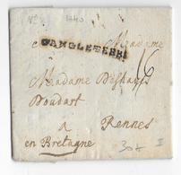 """1740 - LETTRE De LONDRES => RENNES Avec ENTREE """"D'ANGLETERRE"""" - Marcophilie (Lettres)"""