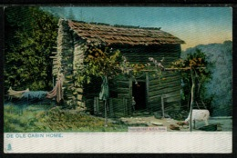 "Ref 1306 - Raphael Tuck USA ""Dixie Land"" Ethnic Postcard - De Ole Cabin Home - America"