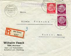 (Lo3308) Einschr. Brief DR St. Idar Oberstein N. Hanau - Allemagne