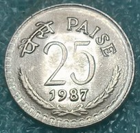 India 25 Paise, 1987 W/o Mintmark - Calcutta -4475 - Inde