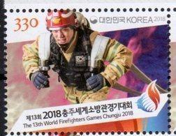 SOUTH KOREA, 2018, MNH, FIREMEN, FIREFIGHTERS, SPORTS, 13th WORLD FIREFIGHTERS GAMES, CHUNGJIU 2018, 1v - Firemen