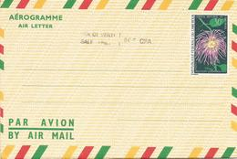 Cameroun Cameroon 1971 Passion Flower Overprint 60f On 30f 43,5mm Long Aerogramme - Cameroon (1960-...)