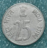 "India 25 Paise, 1988 Rhinoceros, Steel /Magnetic/ Mintmark ""°"" - Noida -1264 - India"