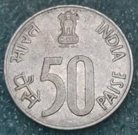 "India 50 Paise, 1989 Map, Steel /Magnetic/ Mintmark ""°"" - Noida -4365 - Inde"