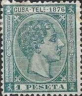 1876 Telegraph Stamps - Alphonso - 1p Bluish Green MH - Télégraphe