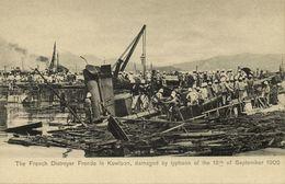 China, HONG KONG, Kowloon, French Destroyer Fronde, Typhoon (1906) Postcard - China (Hong Kong)