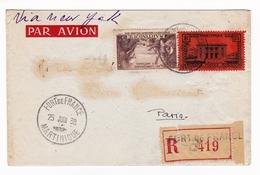 Lettre Recommandée 1938 Fort De France La Martinique Via New York Porto Rico San Juan Paris - Brieven En Documenten
